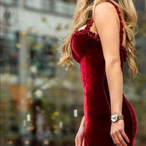 Reformation Red Velvet Dress